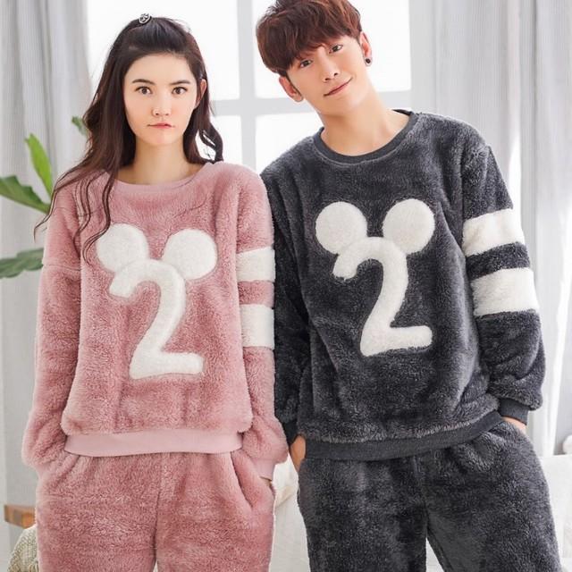 Sevimli Hayvan Flanel Desen Kış Çiftler Pijama Takımı İçin Kadın Erkek Peluş Kumaş pijamalar Pijama Takım Elbise Ev Giyim