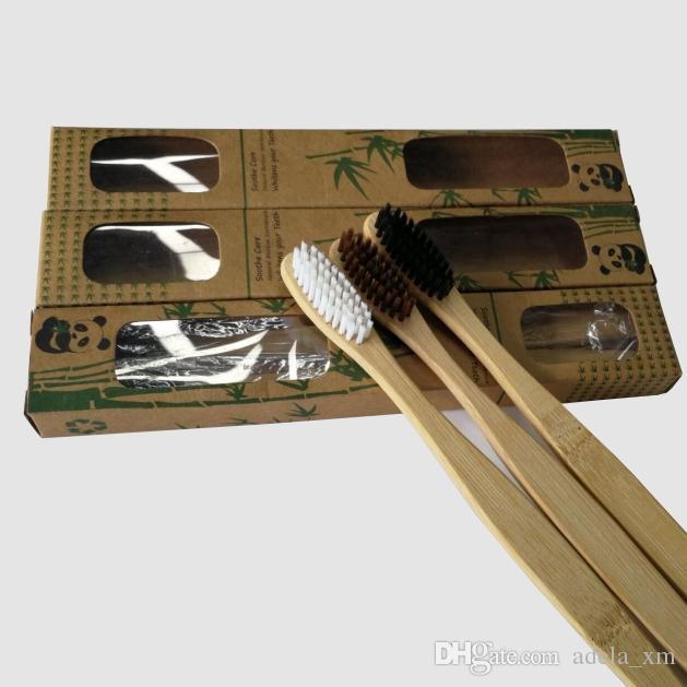 جديد 2 قطع الخيزران فرشاة الأسنان الطبيعية دوبونت لينة فرشاة رئيس جودة عالية مقبض الخيزران يمكن تخصيص 4 ألوان.