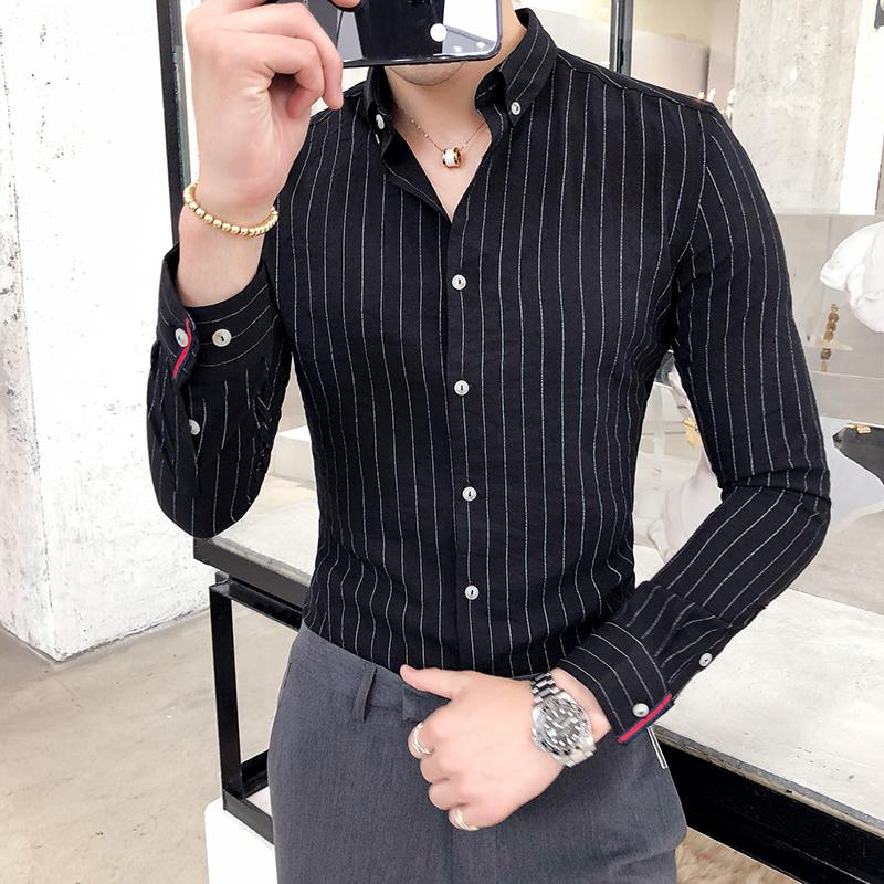 The small cat 2019 Autumn New Shirt Casual Cotton Mens Shirt Solid Color Square Collar Fashion Homme Shirt