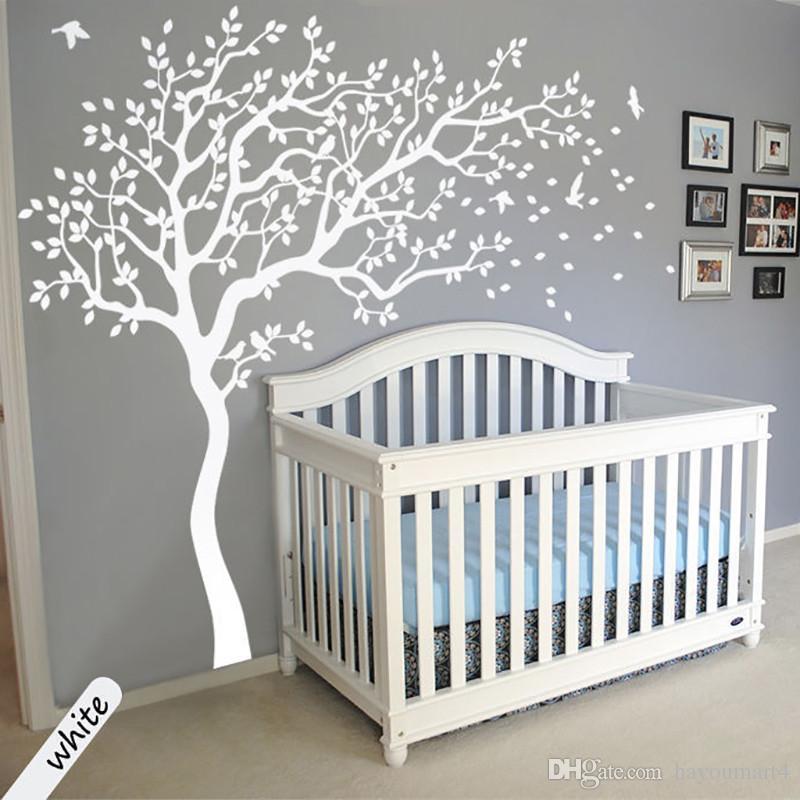 Gran tamaño del árbol blanco pegatinas de pared DIY decoración del hogar tatuajes de pared de arte moderno murales para sala de estar dormitorio niños habitación