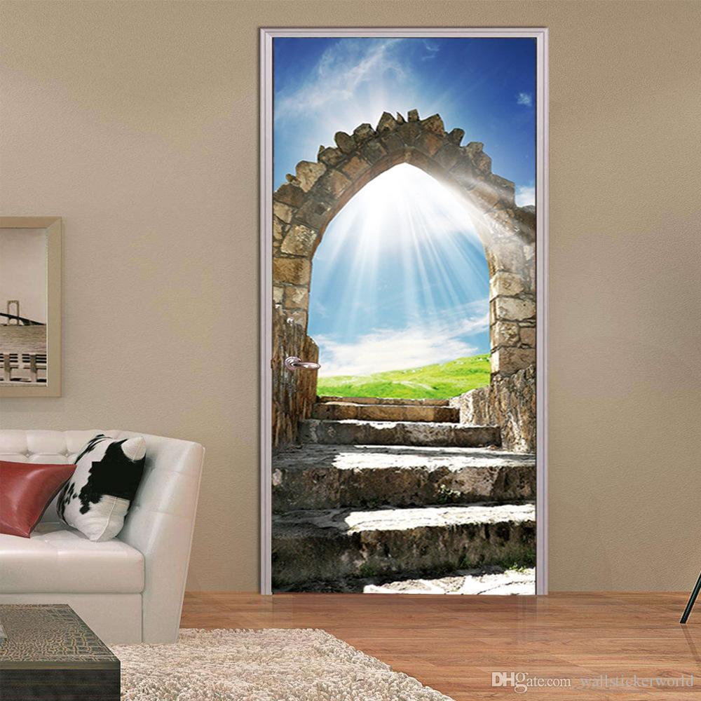 2Pcs/Set Wall Stickers DIY Mural Bedroom Home Decor Poster European Stone Staircase Door Stickers Wallpaper