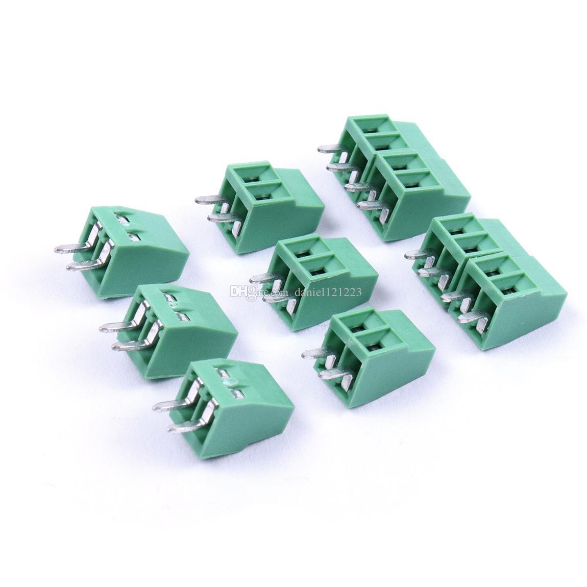 50pcs 2 Pin 3 pines 2,54 mm PCB helicoidales universales bloque de terminales del conector