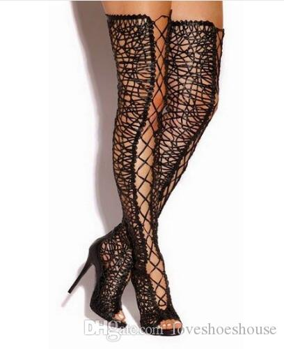 2018 Sexy Stivali coscia in pizzo Peep toe scava fuori Sopra il ginocchio Fretwork Gladiator Tacchi alti Gabbia sandali Stivali per le donne