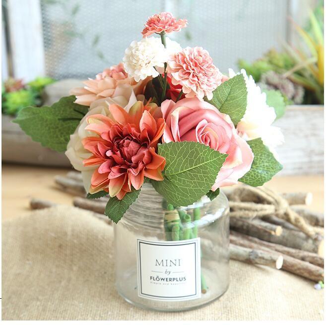 Далия Роза букет искусственный цветок поддельные цветок свадебные украшения невесты проведение цветы украшения дома бесплатно shippin