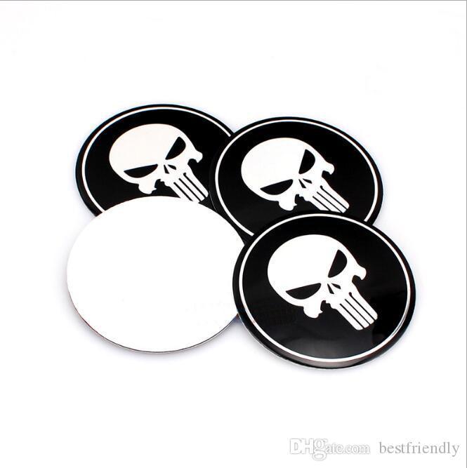Tête de mort en alliage d'aluminium emblème de voiture couvercle du centre de la roue casquettes autocollant de badge autocollant emblèmes