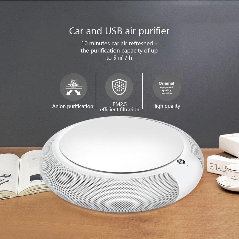 Очиститель воздуха автомобиля с фильтром Портативный USB очиститель удалить формальдегид сигаретный дым запах смарт-очистительное устройство ионизатор