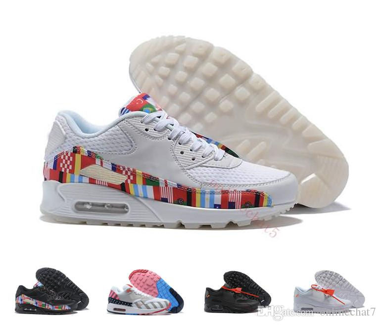 2018 World Cup 90 87 Shoes Designer NIC QS International Flag Classic 90s  Running Shoes Sport Sneakers Outdoor Trainers Jogging Hoka Running Shoes