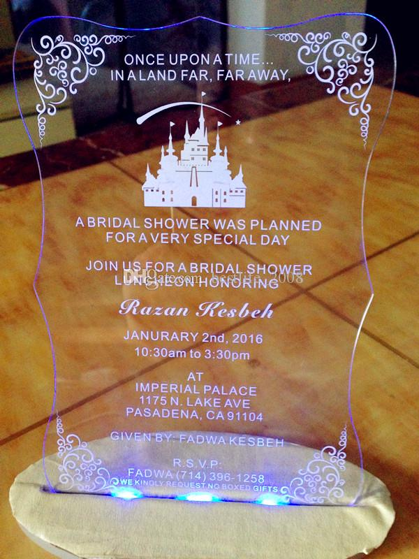 "Acrylic clear Wedding invitations,customized castle wedding invites,Acrylic wedding invitations,acrylic invitations card(6.5""x4.5""xT1/12"")"