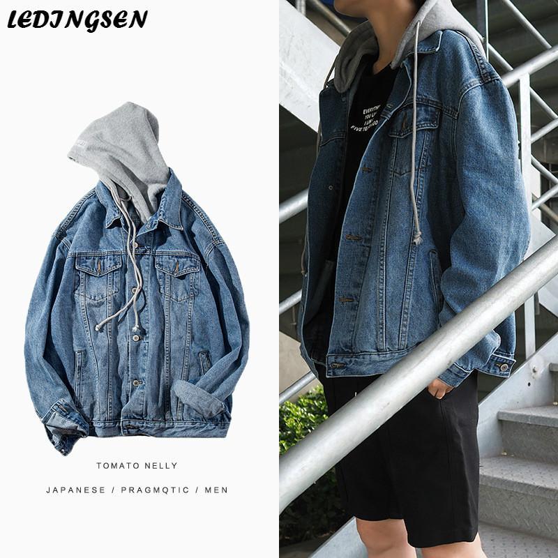 Ledingsen Mens Blue Oversize Denim Jacket Black Hooded Baggy Jeans Jackets Casual Coat Male Spring Streetwear Korean Style Jackets Coats Long Leather
