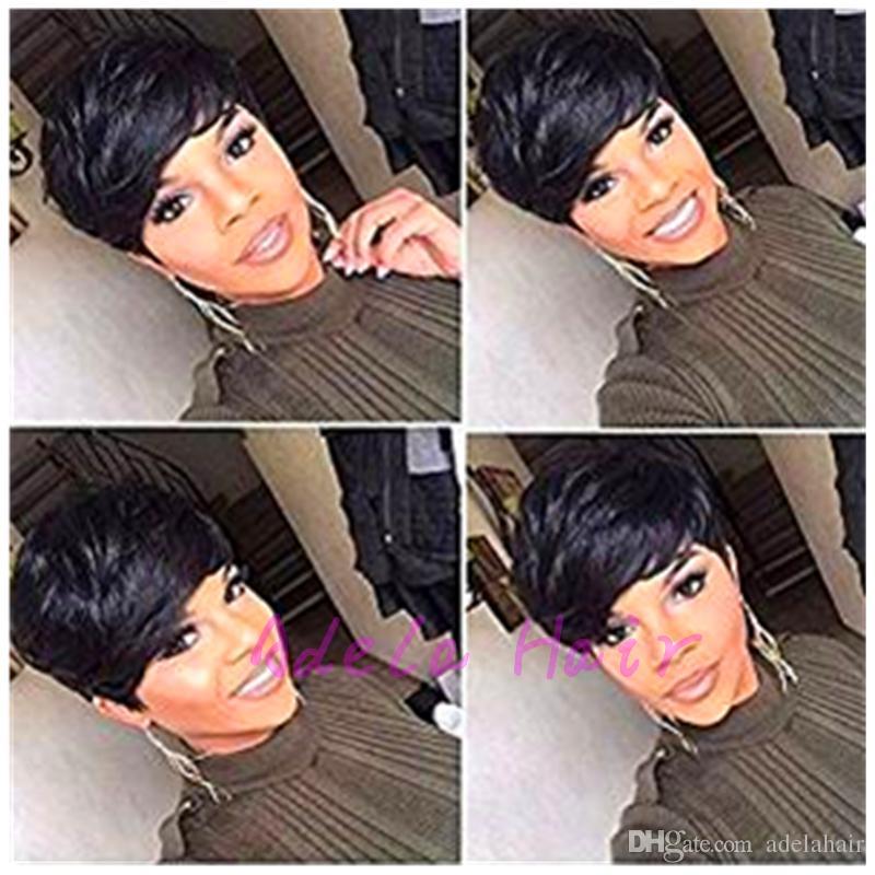 Vente chaude Machine complète faite de perruque de dentelle pixie aucune perruque de lacet Perruques de cheveux humains courte sans colle Lace Front pour les femmes noires