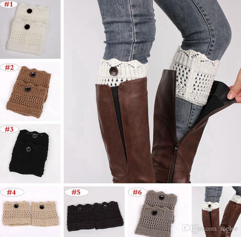 Women Leg Warmer Gifts Knitted Socks Button Crochet Leggings Winter Boot Toppers