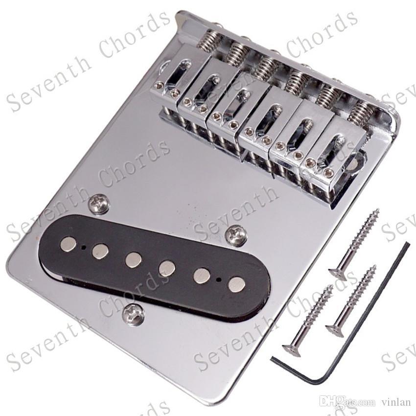 QHX Chrome 6 Flat Saddle Guitar Bridge Pickup per accessori per chitarra elettrica Strumento musicale (3 fori per viti)