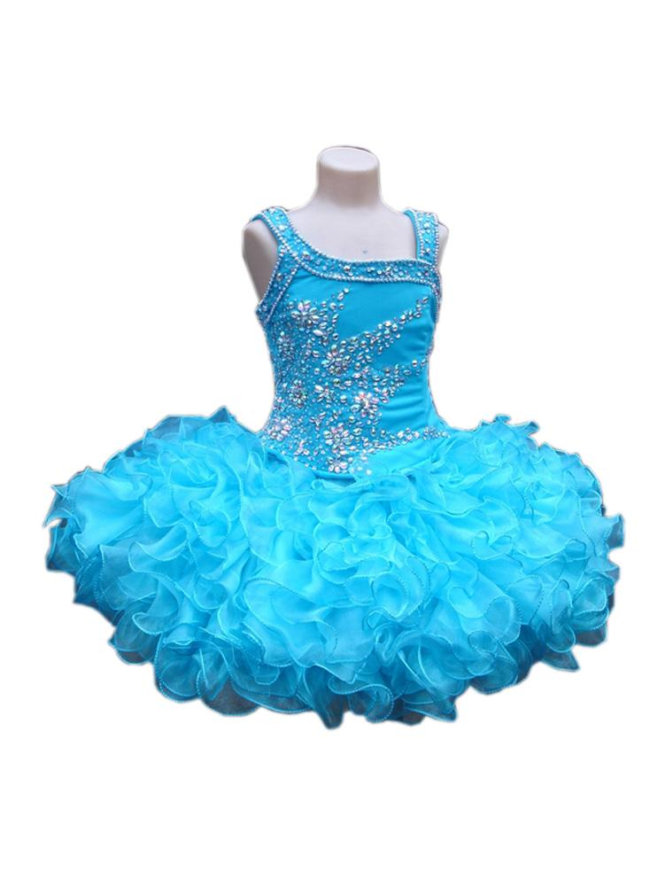 Light Blue Cupcakes Girls Pageant Dresses Infant Toddlers Ball Gown Organza Rhinestones Kids Birthday party First Communion Dress Cheap