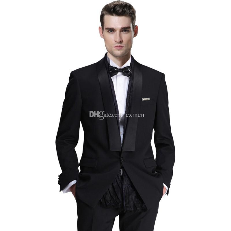 Black Groom Tuxedos Slim Fit Men Suits Wedding Suits Shawl Lapel Custom Made Groomsmen Suit 2 Piece Jacket Pants Best Man Blazers
