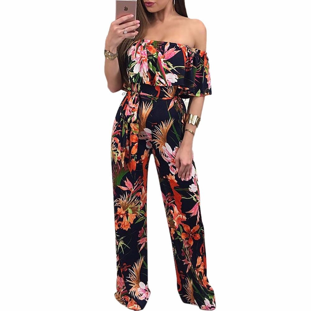 e67f67a375cb 2019 2017 Ruffles Off The Shoulder Elegant Rompers Womens Jumpsuit Boho  Style Floral Print Long Jumpsuit Overalls Wide Leg From Buttonline
