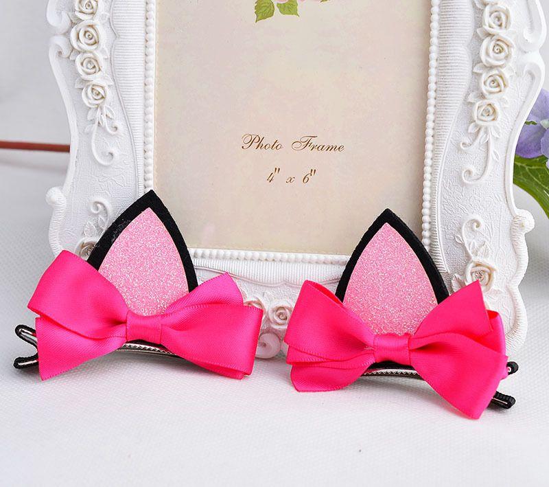 2 pezzi = 1 paio di bambini neonate accessori per capelli clip Forcine per bambini barrette Bow copricapo fiore orecchie di gatto forcina