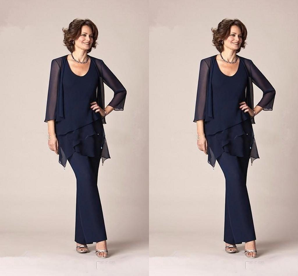 Modest Chiffon Mother Of The Bride Pants Suits Jewel Neck Long Sleeves Formal Gowns Long Mother Of The Bride Suits