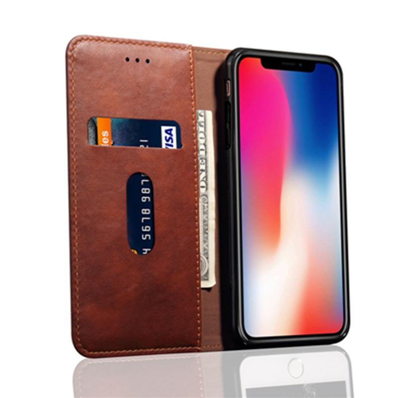 Новое прибытие PU кожаный чехол сотового телефона бумажник откидная крышка с слот для карт памяти для iPhone XS MAX / XS / X с Opp пакет DHL