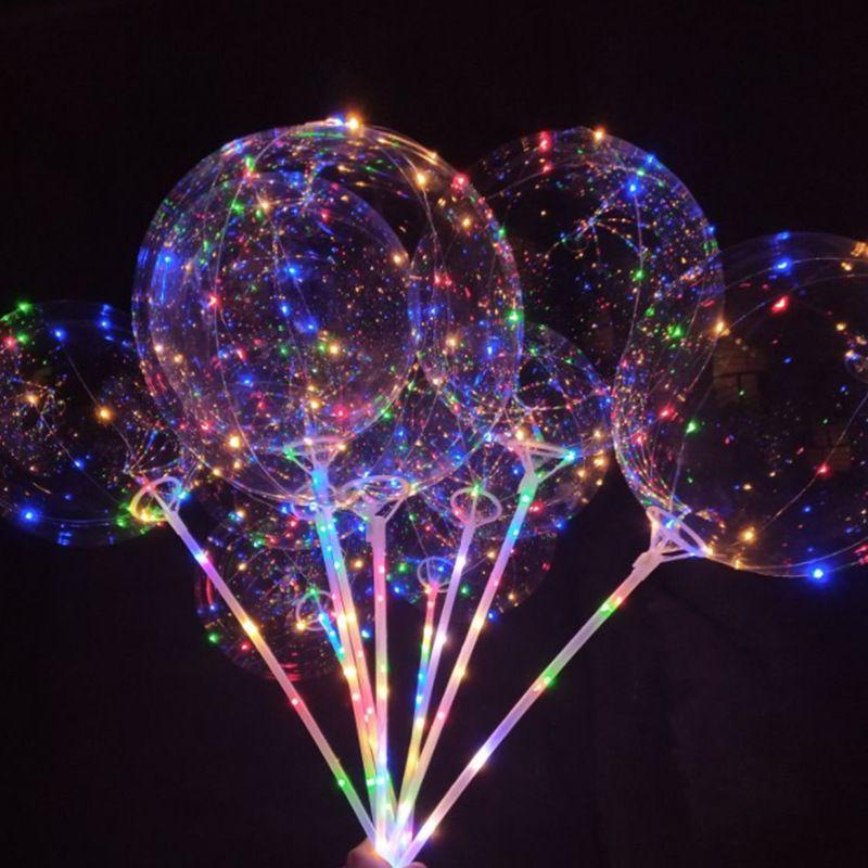 Noël 20 pouces Partie LED Lumineux Ballon Transparent Coloré Clignotant Ballons D'éclairage avec 70cm Pôle De Noce Décorations