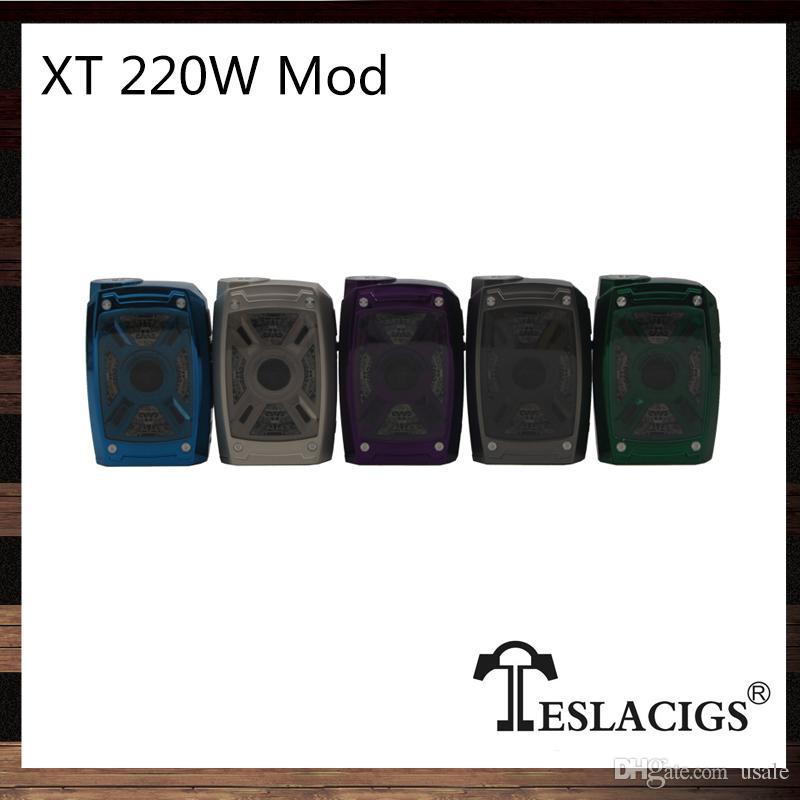 Tesla XT 220 W Kutu Mod X ve T Tasarım LED Işıkları 7 Renk RGB Modu ile Çinko Alaşım Inşaat 100% Orijinal