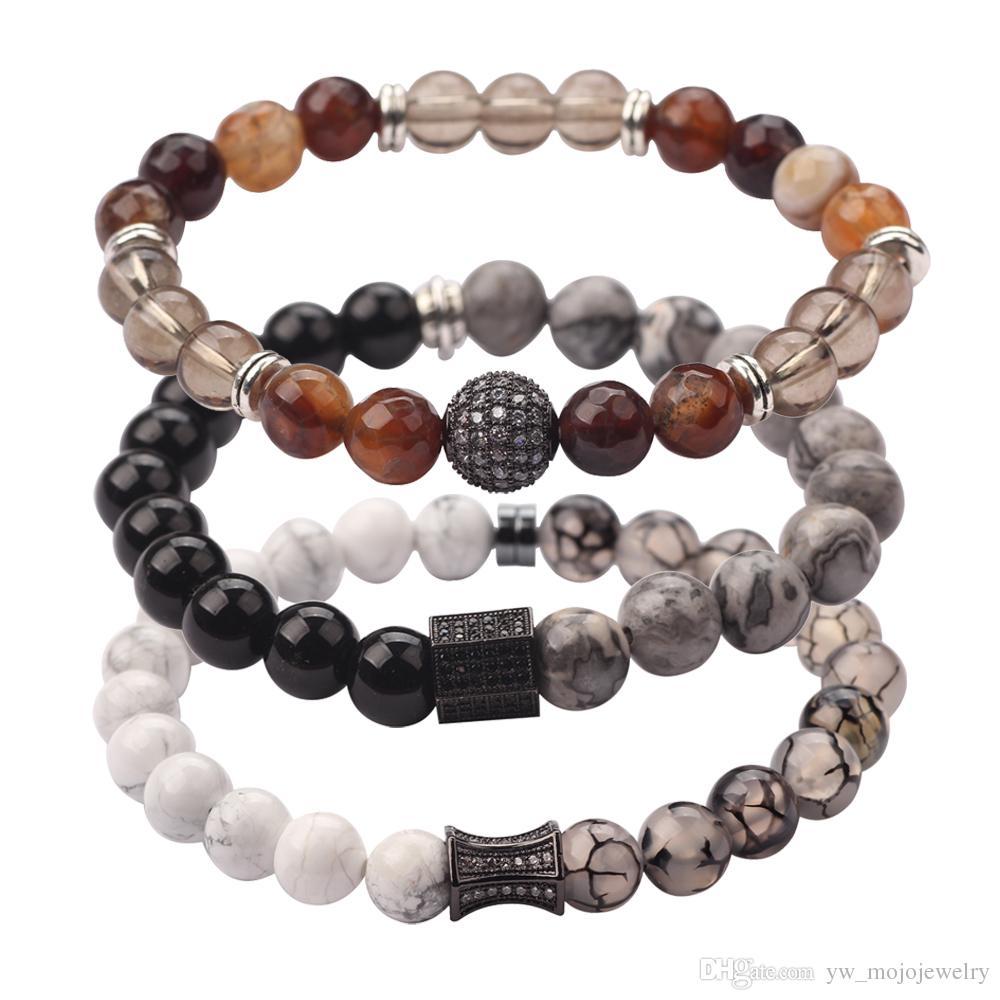 Neue Desugn 3 Styles Mens Cool Edelstahl Charm Armband Handgemachte Schöne Perlen Armband für Geschenk