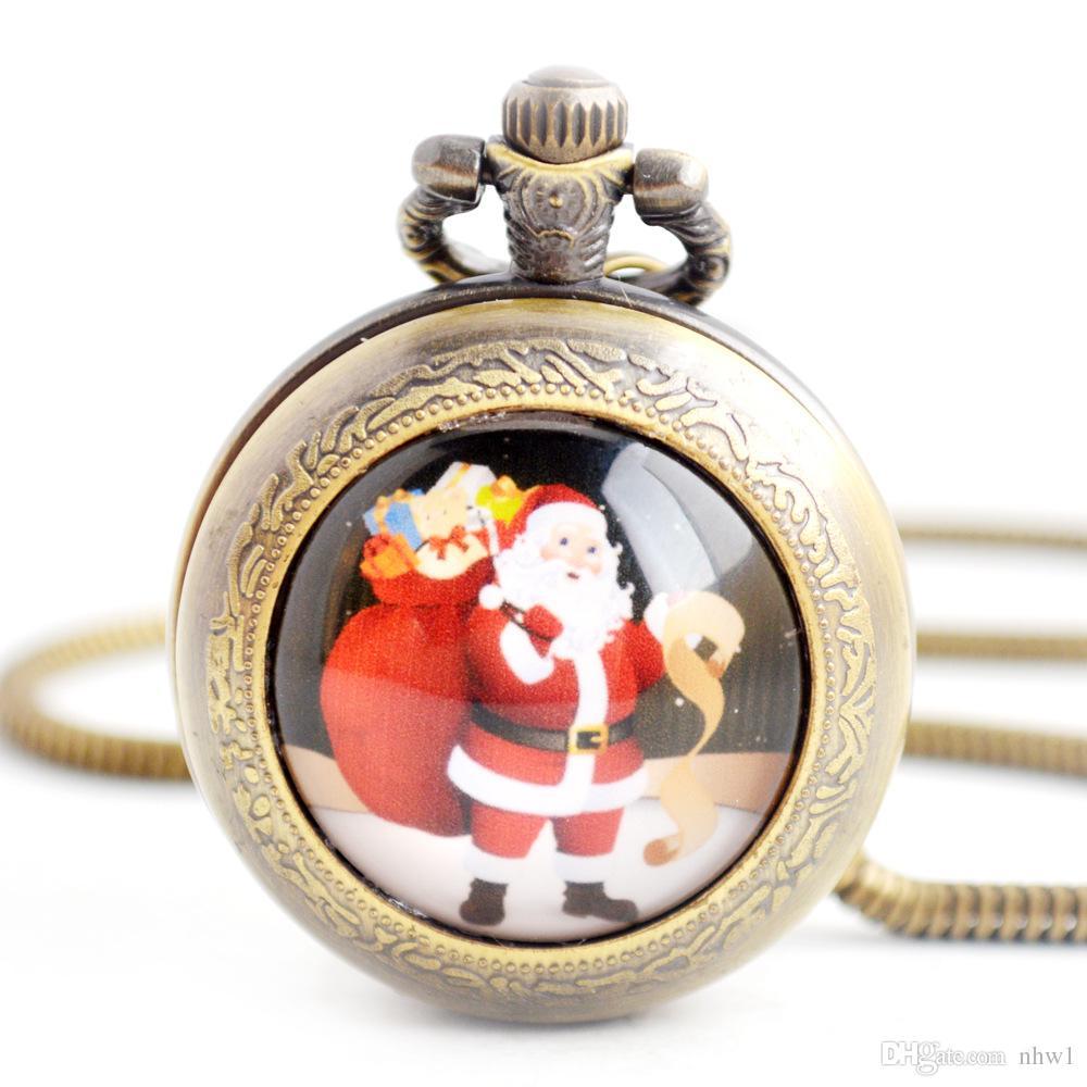 عيد الميلاد سانتا كلوز العتيقة كوارتز الجيب ووتش قلادة أفضل هدية diy مجوهرات للنساء الرجال الأطفال