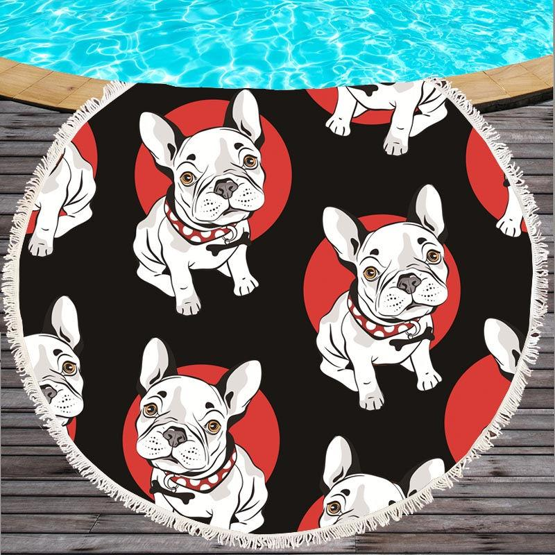 Round Beach Towel for Kids Printed Serviette De Plage Large Towel Cartoon Microfiber Bath Toalla 150cm