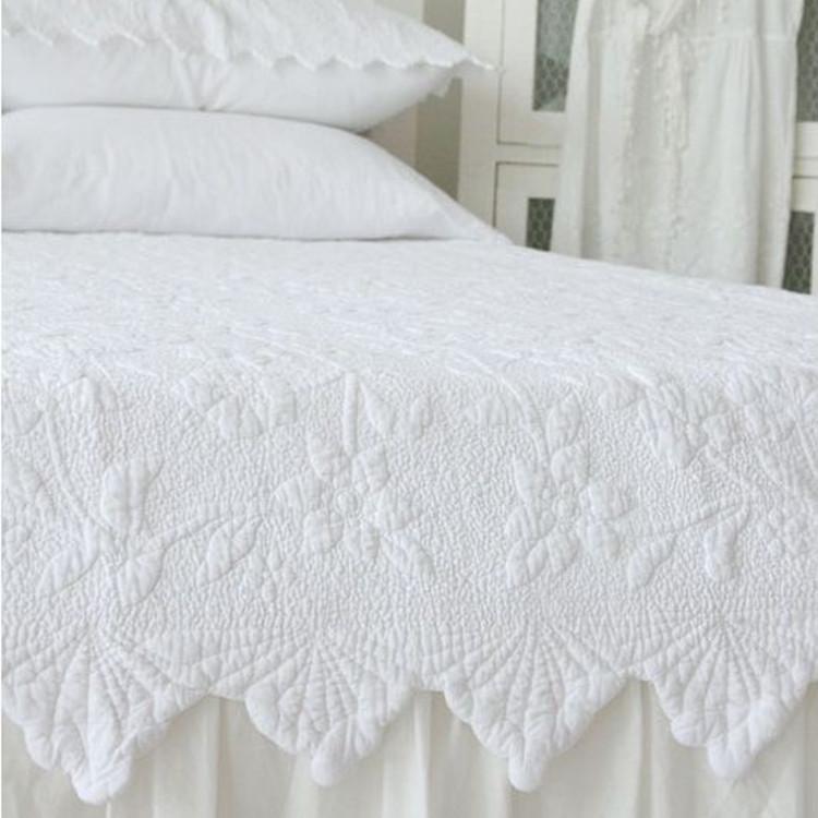 100%хлопок европейский стиль сплошной цвет полный queen king size белый розовый серый вышивка лоскутное одеяло покрывало бесплатная доставка
