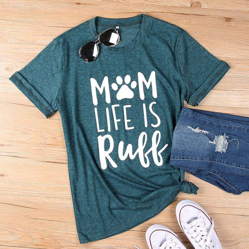 Mulheres verão camiseta mãe vida é camisa ruff senhoras moda casual o pescoço tops tees de manga curta t camisas de maternidade