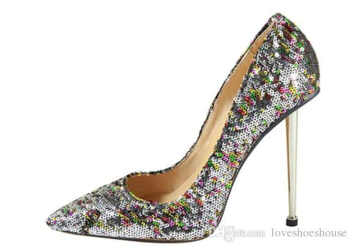 2018 nuove donne di arrivo bling bling pompe oro strappy tacco partito scarpe glitter paillettes pompe scarpe a punta tacco alto rosso vestito