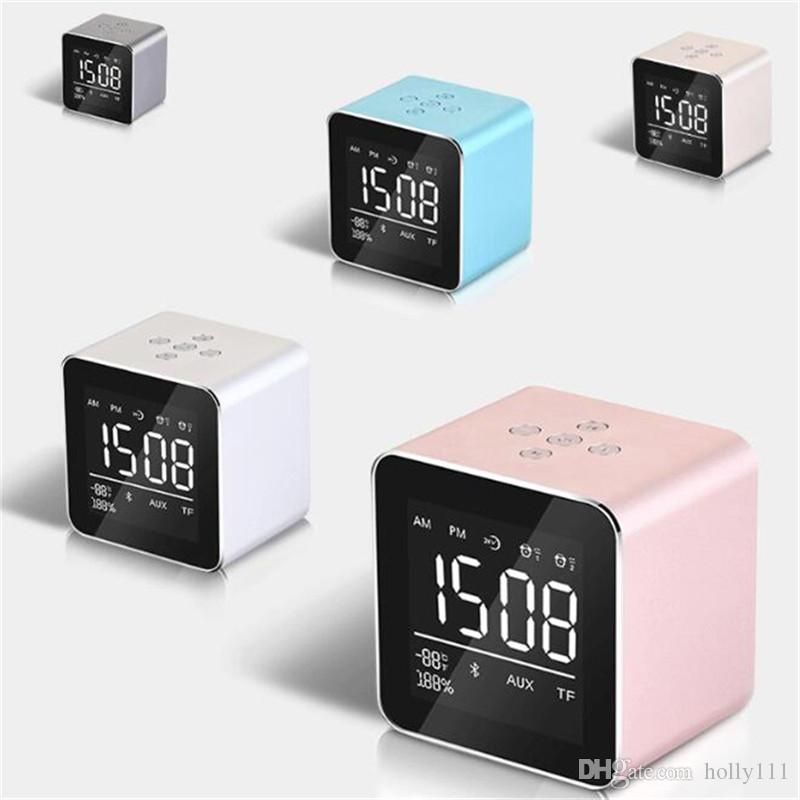 High quality Mini Desktop Bluetooth Speaker Portable Wireless with Alarm Clock LED Display Support TF Card for Phone DHL free shipping