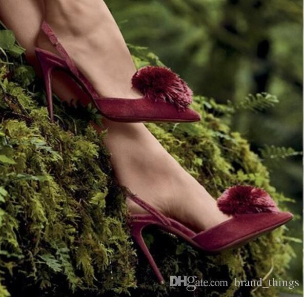 2018 neue frauen High Heels party Schuhe Spitz Frauen Pumps samt Pumps kleid Schuhe Dünne ferse quaste pumpen fransen high heels
