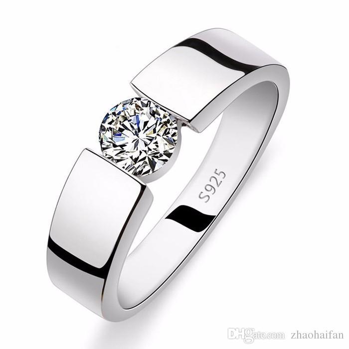 ZHF Bijoux 2018 Anneaux De Mariage pour Hommes Et Femmes Réel 925 Bague En Argent Sterling 1 Ct CZ Diamant Cristal Bijoux Bague