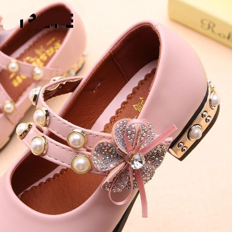 Enfants Chaussures En Cuir Printemps Filles Bébé Princesse Fleur Dentelle Baskets Enfants Filles Chaussures De Mariage Taille 26-36