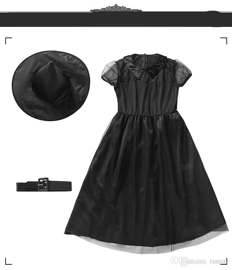 أزياء ساحرة للأطفال من هالوين ، وساحرة سوداء صغيرة ، وفستان COS ، وخدمة يومية ، وساحرة الوالدين والطفل