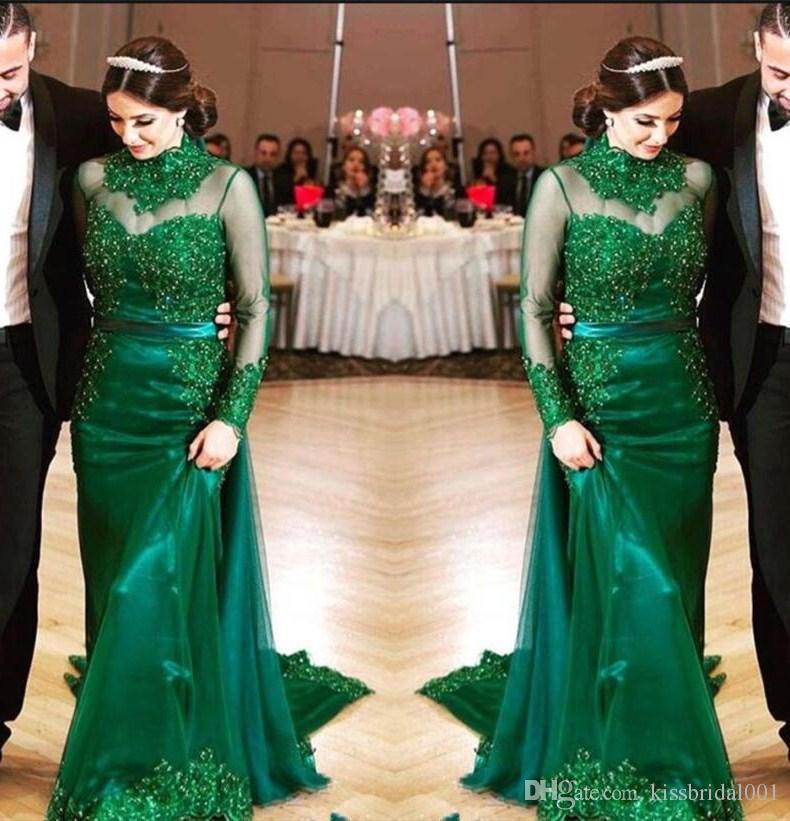 Jägergrüne Abendkleider Lange Ärmel Spitze Perlenstickerei Mantel Formale Abendkleider Hoher Kragen Kleid für die Brautmutter