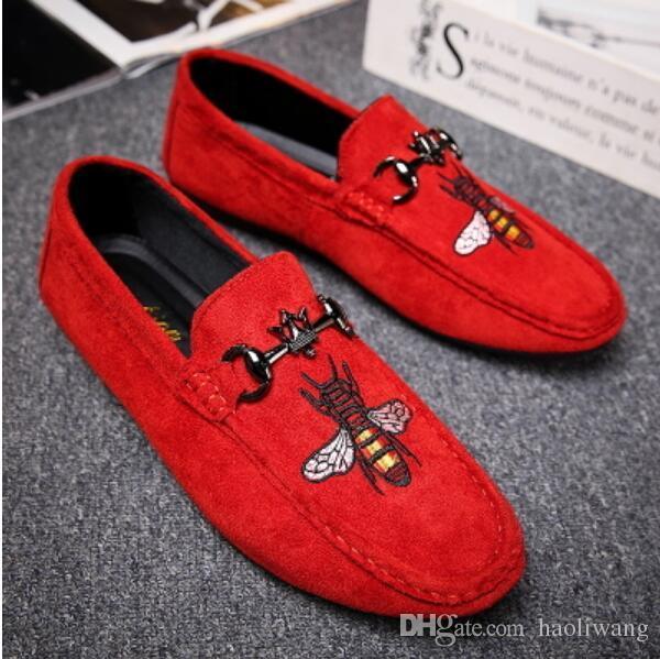 Moda Erkekler Loafers Kayma Mens Kadife dikiş Ayakkabı Rahat Kadife Terlik İngiliz Elbise Ayakkabı erkek Flats Düğün ve Parti ShoesG3.17