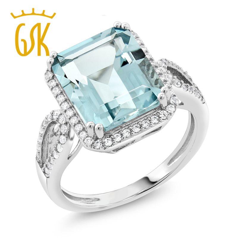 GemStoneKing 5.00 Ct Anello a forma di acquamarina con taglio ottagono creato Anello di fidanzamento da donna in argento sterling 925 con diamante S18101001