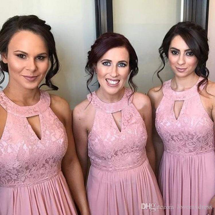 Dusty Rose Lace Bridesmaid Formal Dresses 2019 Cheap Chiffon Long Halter Zipper Back Beach Prom Evening Wedding Guest Dress For Party
