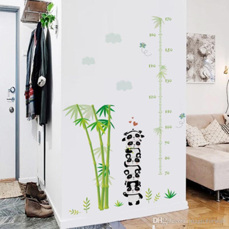 Acheter Bambou Panda Papillon Nuages Autocollant Mural Chambre D Enfants Tableau De Croissance Photo Murale Affiche Art Decor A La Maison Applique