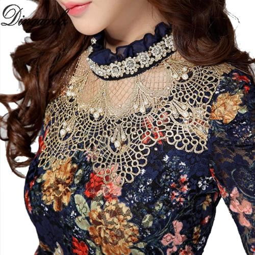 DingaOzlz kadın Dantel Gömlek Kadın Dantel Bluzlar Uzun Kollu Hollow Çiçek Tops İnce Elebeaded Gazlı Bez Şifon Gömlek