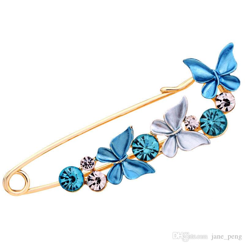 High Quality Butterfly Flower Brooches Pins With Rhinestone For Women Sweater Scarf Hat Big Size Crystal Broches Gift For Mother Lover