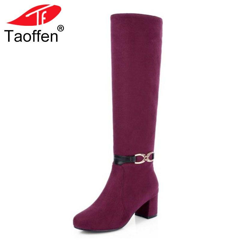 Plus 45 Schuhe High Winterstiefel Taoffen Lange 32 Herbst Heels Dicke Weibliche Rot Frauen Kniehohe 2018 Großhandel Metall Größe Stiefel KJcT1Fl