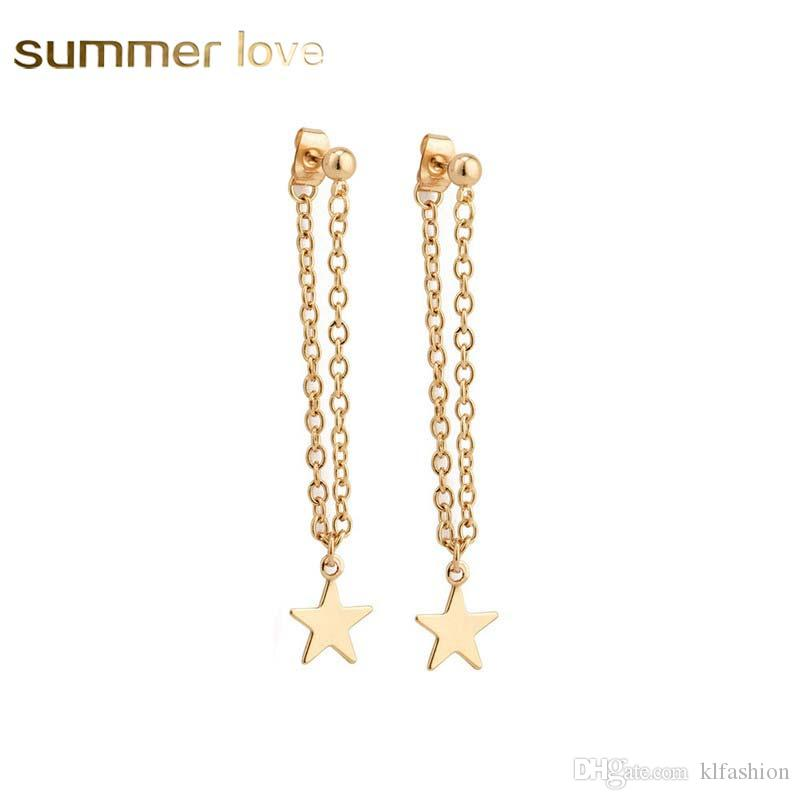 Ladies Fashion Dangle Chain Gold Long Metal Necklace Statement For Women New