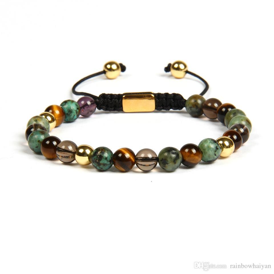 Kamień naturalny makram bransoletka jogi z 6mm oczu tygrysa, afrykańskie kamienne koraliki biżuteria ze stali nierdzewnej nie znikną