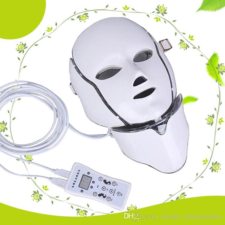 موك 1 قطع 7 أضواء led الفوتون العلاج آلة الجمال pdt الجلد تجديد الصمام الوجه الرقبة قناع مع مكركرنت للبشرة تبييض ce