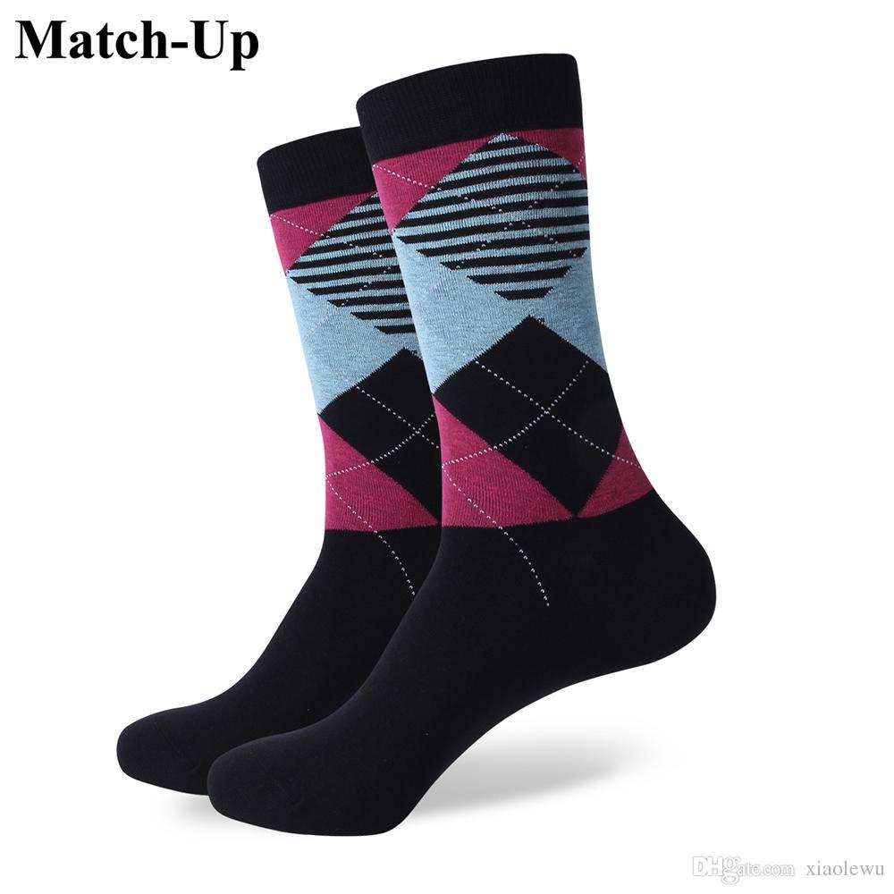 2016 erkek penye pamuklu marka erkek çorapları, renkli geometrik eğlence çorapları, ABD boyutu (7.5-12) 321