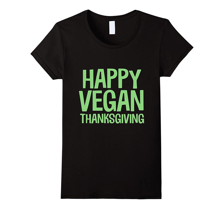 T das mulheres Feliz Vegan Thanksgiving Animal Vegetariano Férias T-shirt de Impressão Em Torno Do Pescoço Moda Fina Mulheres Engraçadas Marca Top Tee