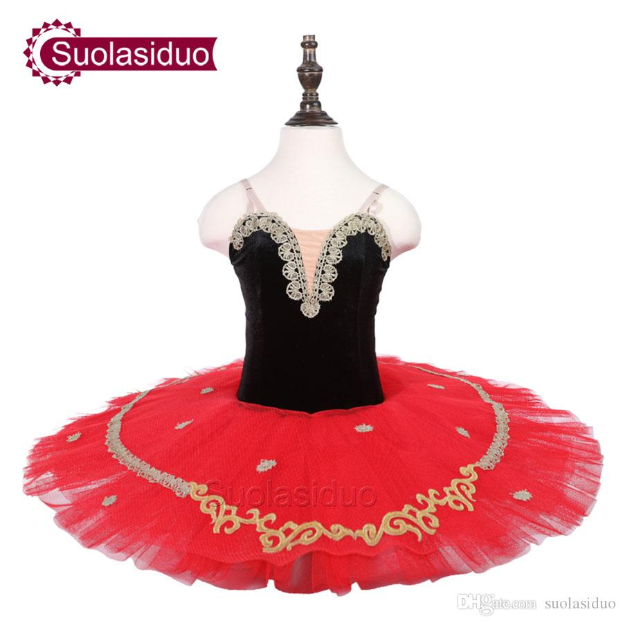 Kids Black Ballet Tutu Don Quixote Stage Performance Costumes Girls Red Professional Ballet Dance Apperal Adult Ballet Skirt