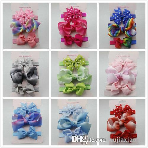 11 Styles Cute Kids Baby Girls Colorful ribbed ribbon bowknot Headbands 3pcs/card Soft Infant Hair band accessories christmas gifts